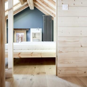 aménagement chambre chalet en bois